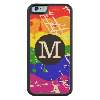Distressed Rainbow dripping Monogram Carved® Maple iPhone 6 Bumper