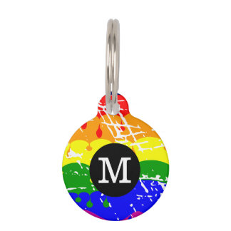 Distressed Rainbow dripping Monogram Pet ID Tag