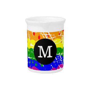 Distressed Rainbow dripping Monogram Pitcher