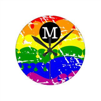Distressed Rainbow dripping Monogram Round Clock