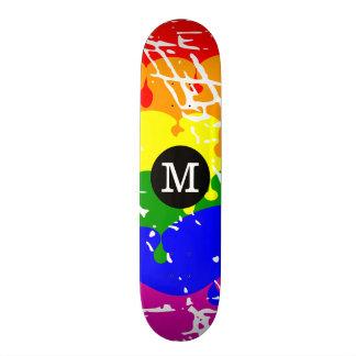 Distressed Rainbow dripping Monogram Skateboard Deck