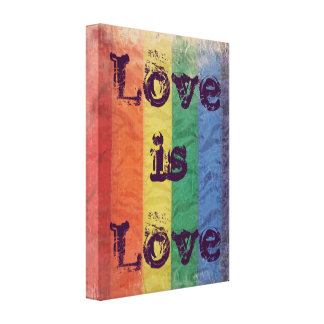 Distressed Rainbow LGBT Flag Love is Love Wall Art Canvas Print