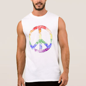 Distressed Rainbow Peace Symbol Sleeveless Shirt