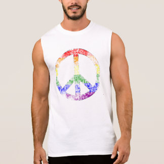 Distressed Rainbow Peace Symbol Sleeveless Shirt