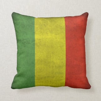 Distressed Rasta Flag Throw Pillow