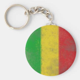 Distressed Rasta Stripes Basic Round Button Keychain