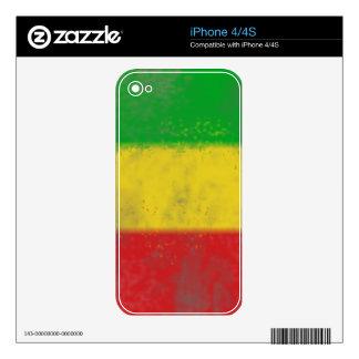 Distressed Rasta Stripes iPhone 4 Decal