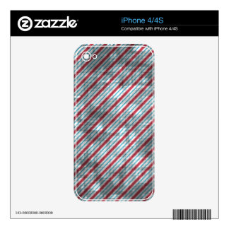 Distressed Red And Blue Diagonal Stripes iPhone 4S Decal