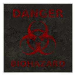 Distressed Red Biohazard Symbol Poster