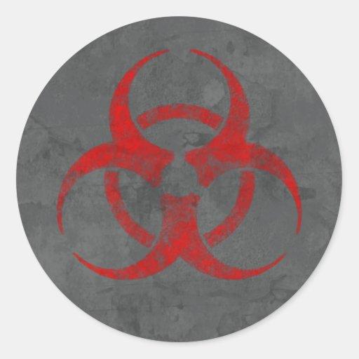 Distressed Red Biohazard Symbol Sticker