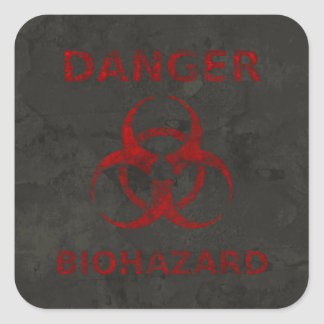 Distressed Red Biohazard Warning Sticker