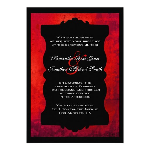 red and black wedding invitations distressed black wedding invitation 5 quot x 7 6992