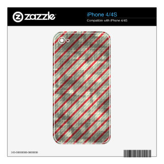 Distressed Red Diagonal Stripes iPhone 4S Skin