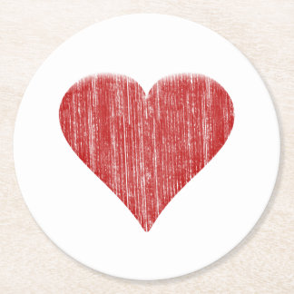Distressed Red Heart Round Paper Coaster
