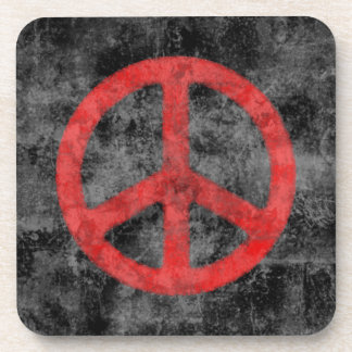 Distressed Red Peace Sign Beverage Coaster
