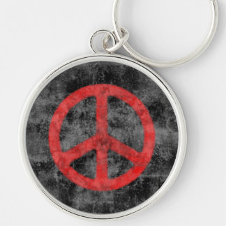 Distressed Red Peace Sign Keychain