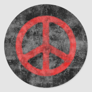 Distressed Red Peace Sign Sticker