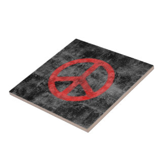Distressed Red Peace Sign Tile