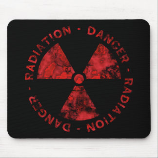Distressed Red Radiation Symbol Mousepad