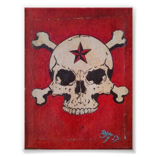 Distressed Red Skull Painting Poster