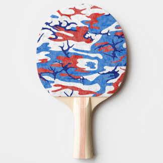 Distressed Red White and Blue Camo Ping Pong Paddle