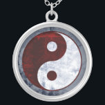 """Distressed Red &amp; White Yin Yang Symbol Necklace<br><div class=""""desc"""">Sterling silver charm necklace featuring a distressed yin yang symbol design in red,  white and gray.</div>"""