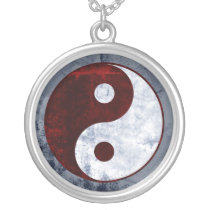 Distressed Red & White Yin Yang Symbol Necklace