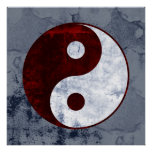 Distressed Red & White Yin Yang Symbol Poster
