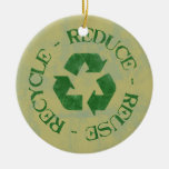 Distressed Reduce Reuse Recycle Ornament