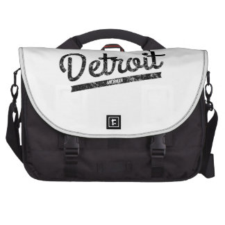 Distressed Retro Detroit Logo Laptop Bags