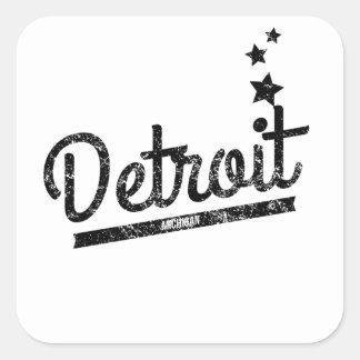 Distressed Retro Detroit Logo Square Stickers