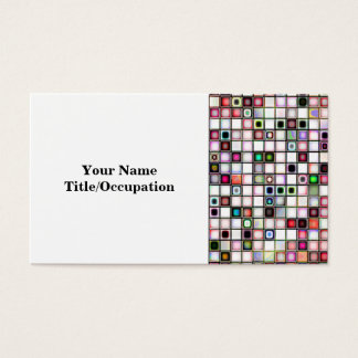 Distressed Retro Jewel Tones Mosaic Tiles Pattern Business Card