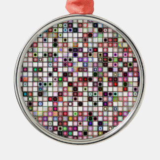 Distressed Retro Jewel Tones Mosaic Tiles Pattern Christmas Ornament