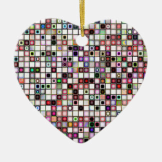 Distressed Retro Jewel Tones Mosaic Tiles Pattern Christmas Tree Ornaments