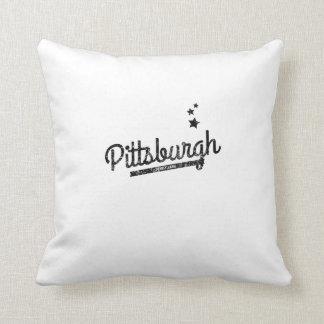 Distressed Retro Pittsburgh Logo Throw Pillows