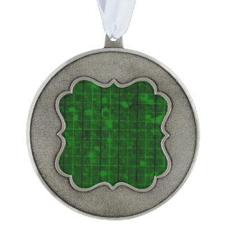 Distressed Retro Plaid Grunge Green Pewter Ornament