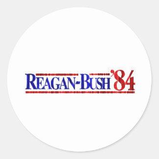 Distressed Retro Reagan-Bush 1984 Classic Round Sticker