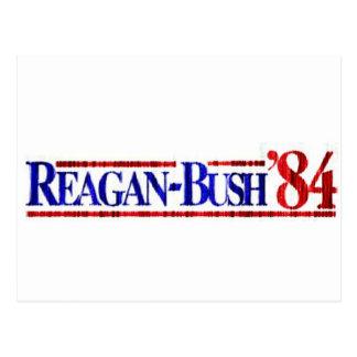 Distressed Retro Reagan-Bush 1984 Postcard