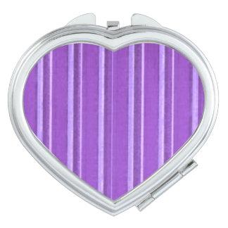 Distressed Retro Stripe Lavender Purple Makeup Mirror