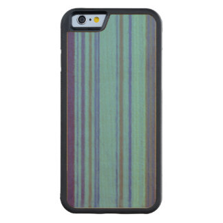 Distressed Retro Stripe Purple Avocado Blue Carved® Maple iPhone 6 Bumper