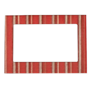Distressed Retro Stripe Rusty Coral Beige Frame Magnets