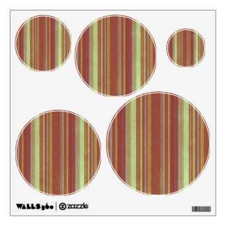 Distressed Retro Stripe Yellow Rust Brown Wall Decal