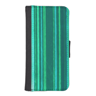 Distressed Retro Stripes Teal Green Turquoise iPhone 5 Wallet