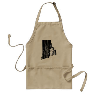 Distressed Rhode Island State Outline Adult Apron