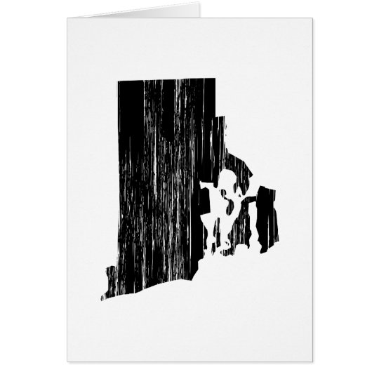 Distressed Rhode Island State Outline Card