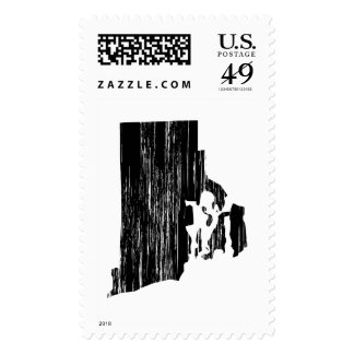 Distressed Rhode Island State Outline Postage Stamp