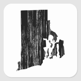 Distressed Rhode Island State Outline Square Sticker
