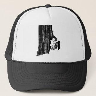 Distressed Rhode Island State Outline Trucker Hat