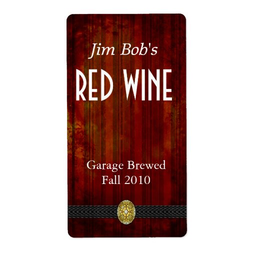 Distressed Rich Red Home Made Wine Labels