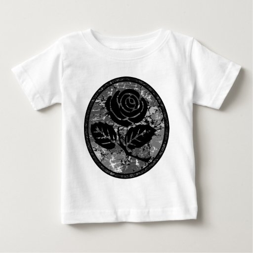 Distressed Rose Silhouette Cameo - Black & Grey Baby T-Shirt